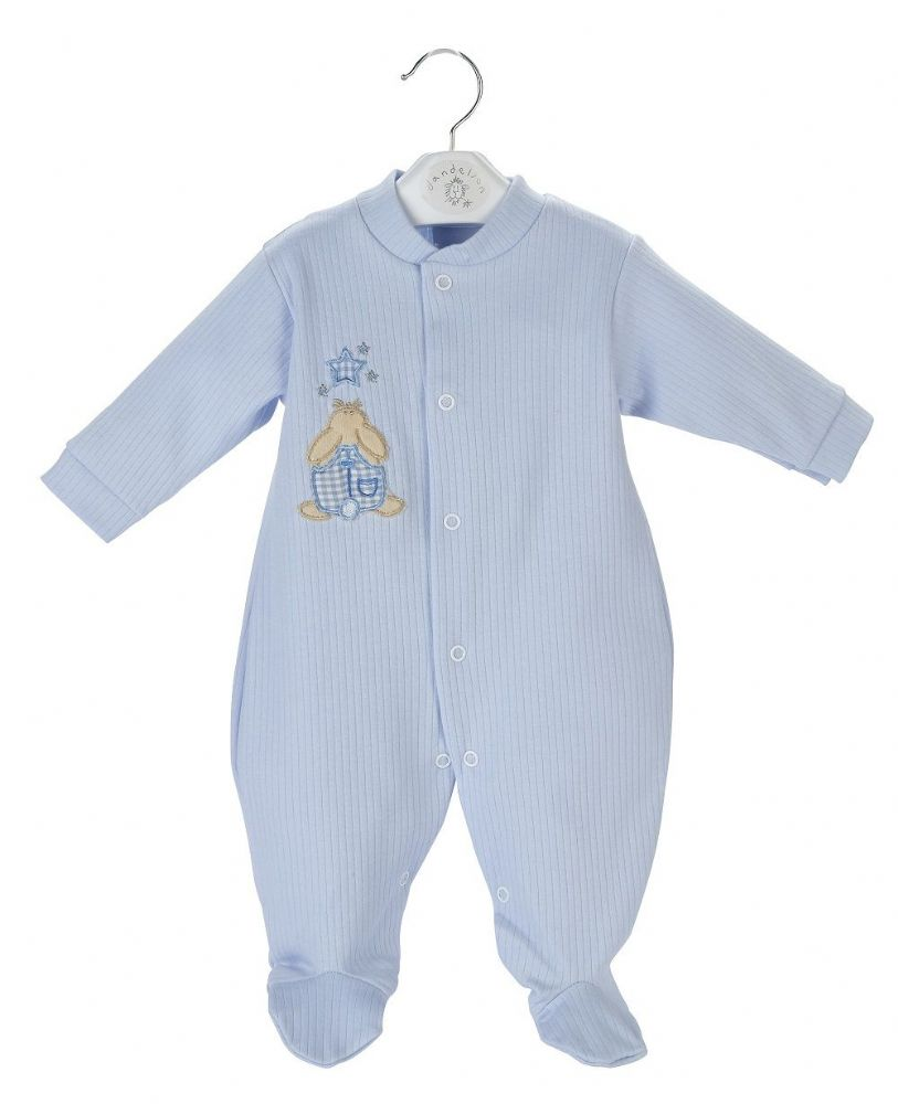 A20355 Rabbit & Star Ribbed Sleepsuit Blue